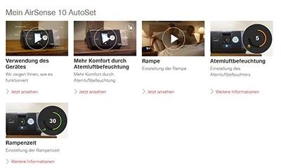 Benutzeroberfläche der myAir Therapie-App zeigt AirSense 10 AutoSet Videos.